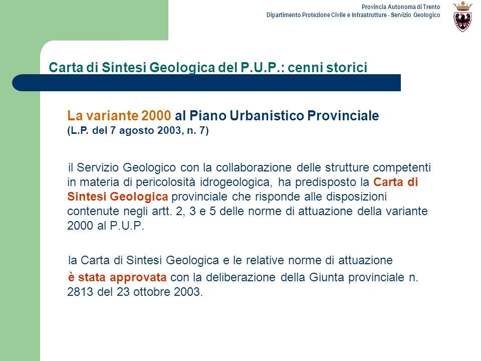 Carta di Sintesi Geologica del P.U.P.: cenni storici