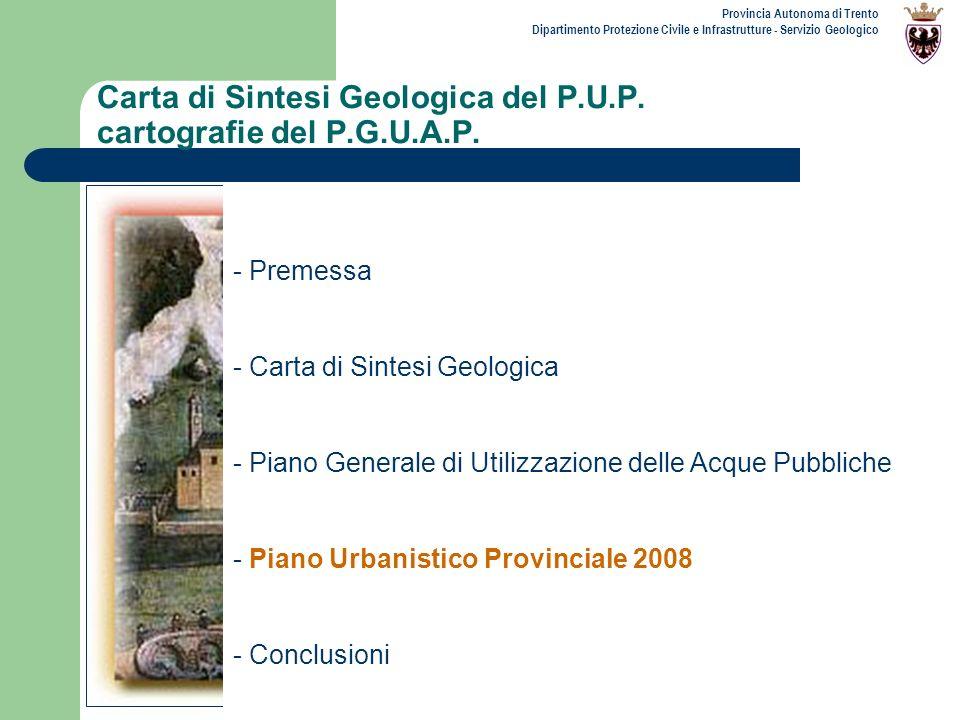 Carta di Sintesi Geologica del P.U.P. cartografie del P.G.U.A.P.