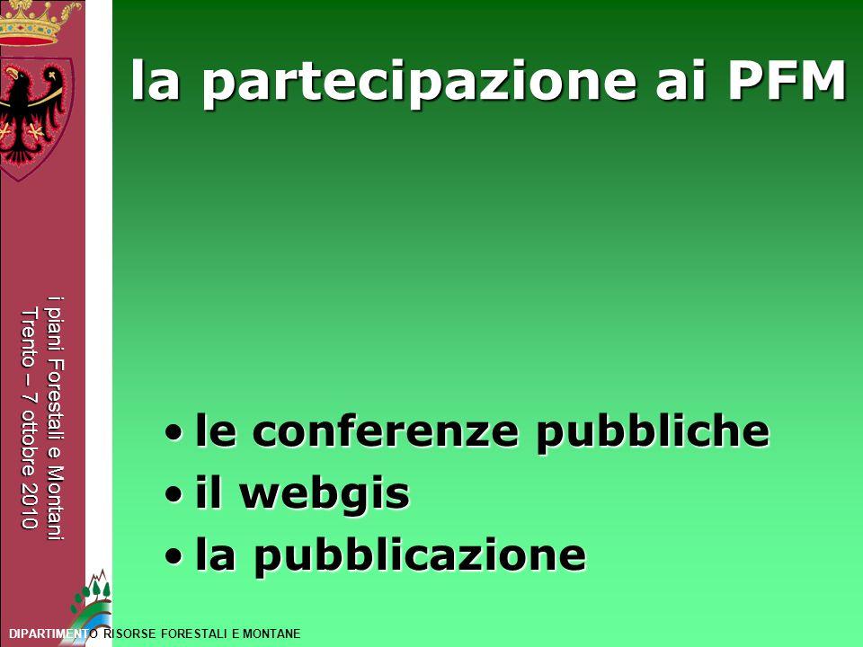 la partecipazione ai PFM