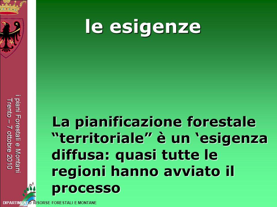 le esigenze La pianificazione forestale territoriale è un 'esigenza diffusa: quasi tutte le regioni hanno avviato il processo.