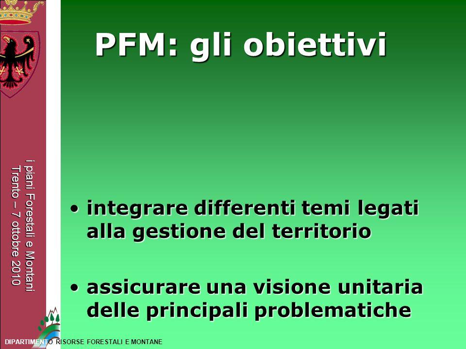 PFM: gli obiettivi integrare differenti temi legati alla gestione del territorio. assicurare una visione unitaria delle principali problematiche.