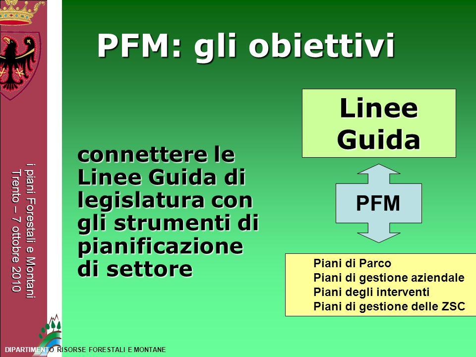 PFM: gli obiettivi Linee Guida PFM