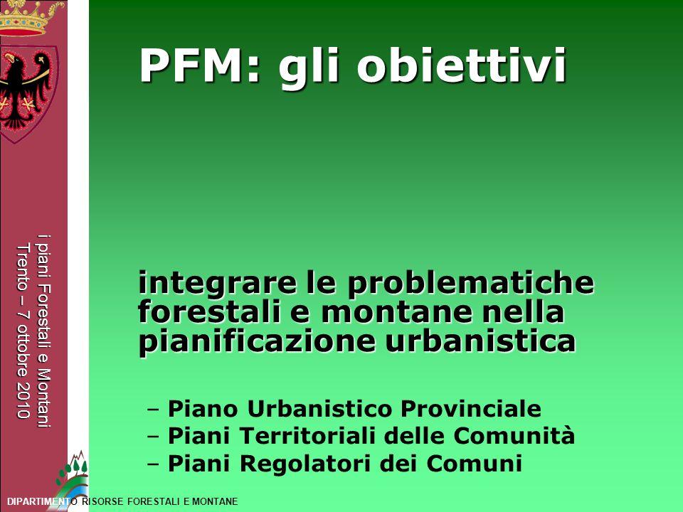 PFM: gli obiettivi integrare le problematiche forestali e montane nella pianificazione urbanistica.