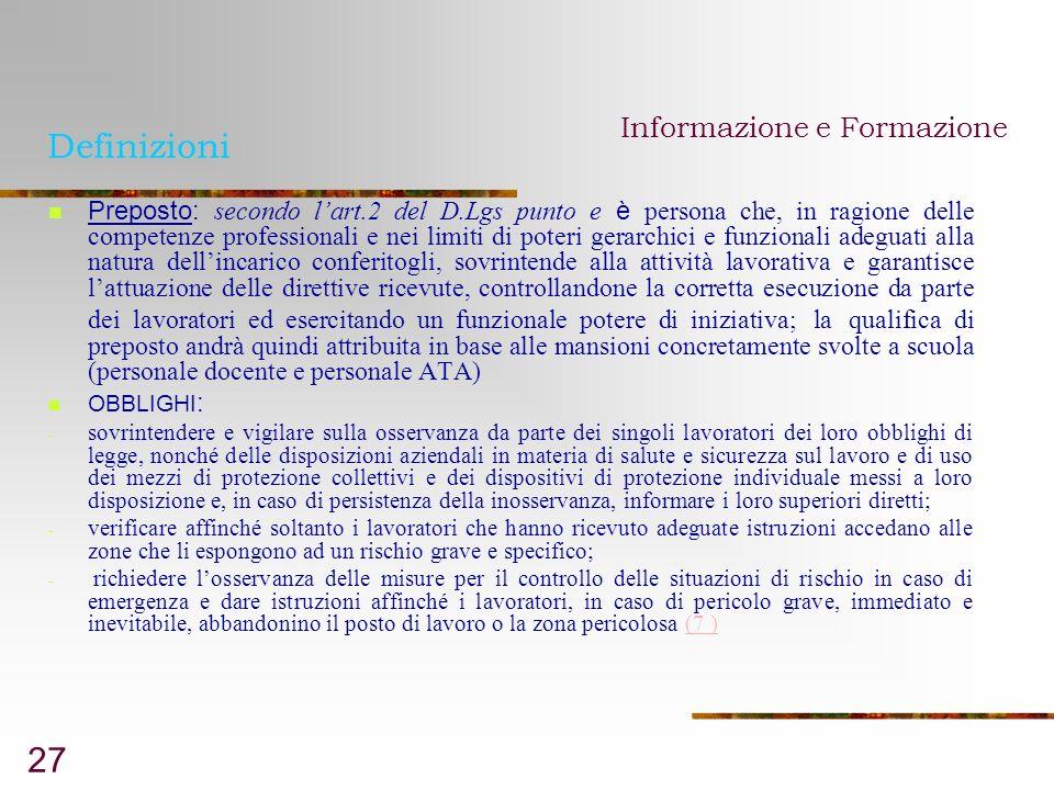 Definizioni Informazione e Formazione