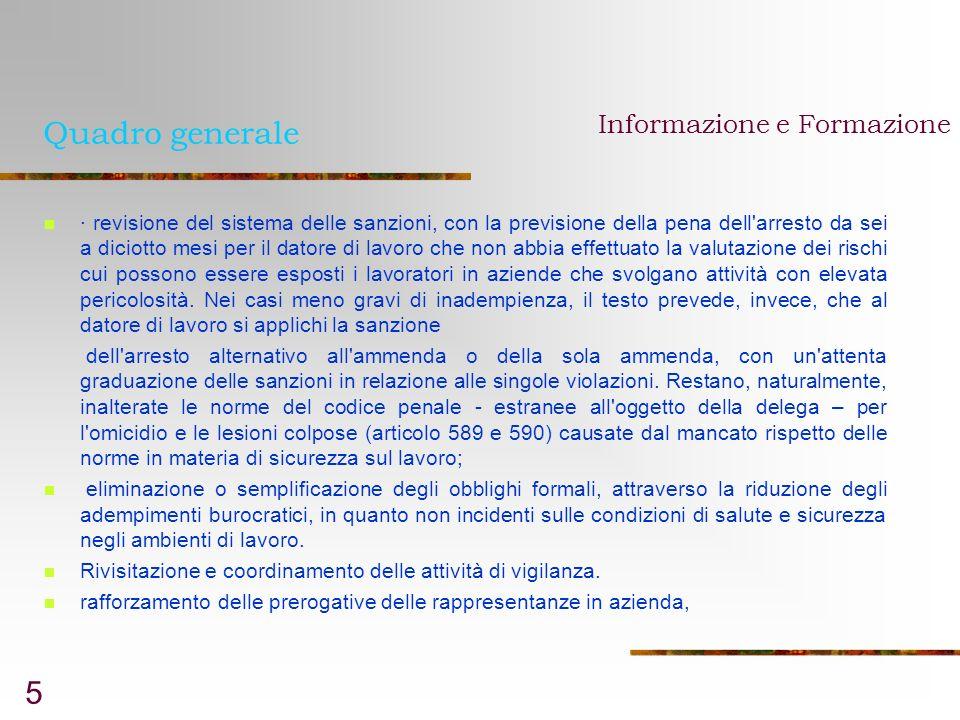 Quadro generale Informazione e Formazione