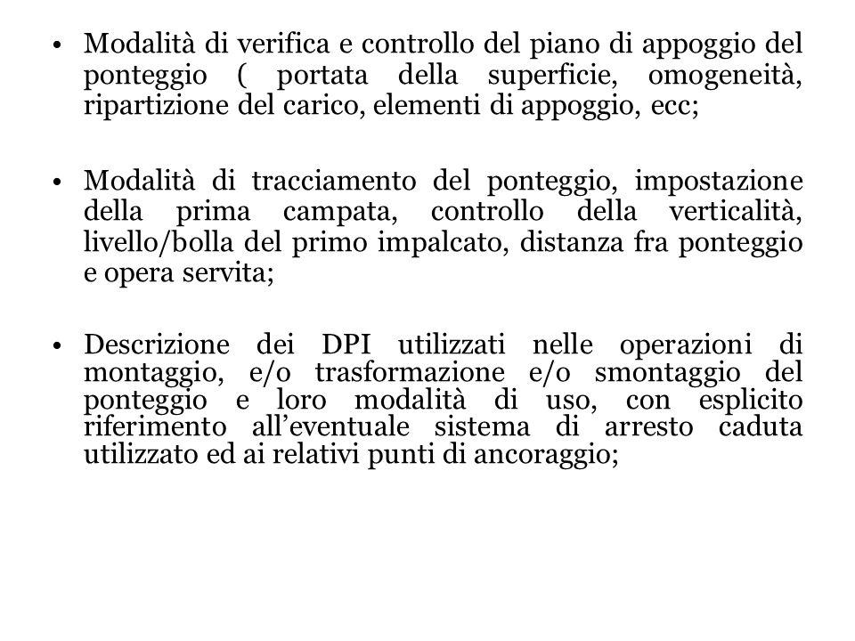 Modalità di verifica e controllo del piano di appoggio del ponteggio ( portata della superficie, omogeneità, ripartizione del carico, elementi di appoggio, ecc;