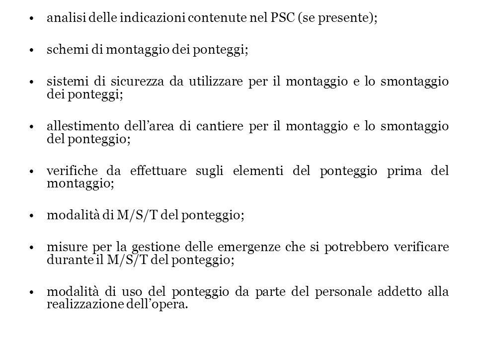 analisi delle indicazioni contenute nel PSC (se presente);