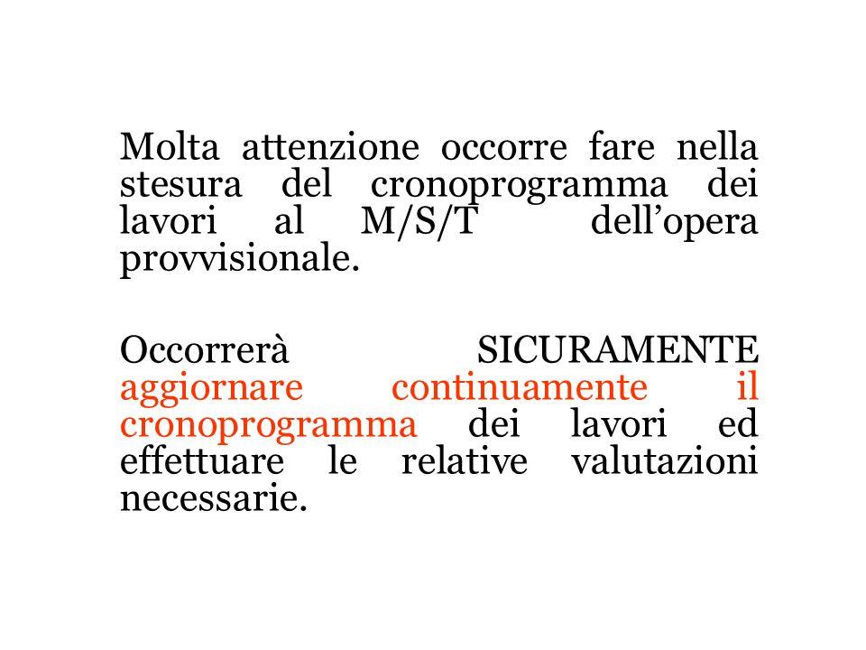 Molta attenzione occorre fare nella stesura del cronoprogramma dei lavori al M/S/T dell'opera provvisionale.
