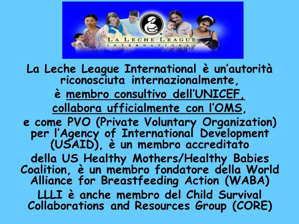 è membro consultivo dell'UNICEF, collabora ufficialmente con l'OMS,