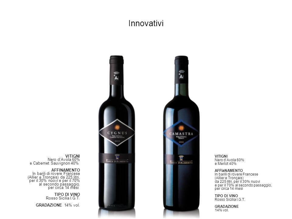 Innovativi VITIGNI Nero d'Avola 60% e Cabernet Sauvignon 40%