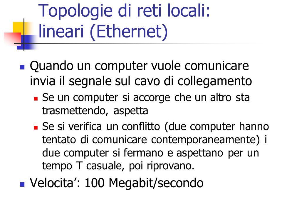 Topologie di reti locali: lineari (Ethernet)
