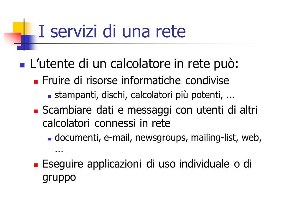 I servizi di una rete L'utente di un calcolatore in rete può: