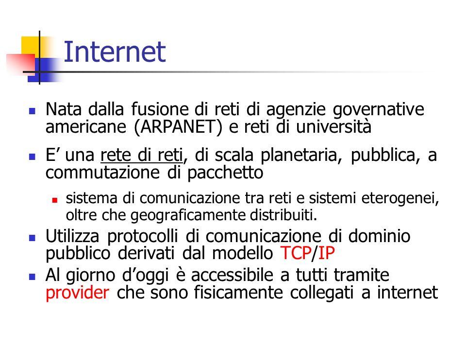Internet Nata dalla fusione di reti di agenzie governative americane (ARPANET) e reti di università.