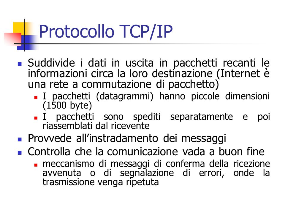 Protocollo TCP/IP