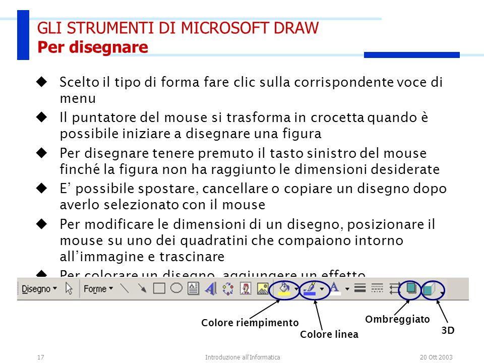 GLI STRUMENTI DI MICROSOFT DRAW Per disegnare