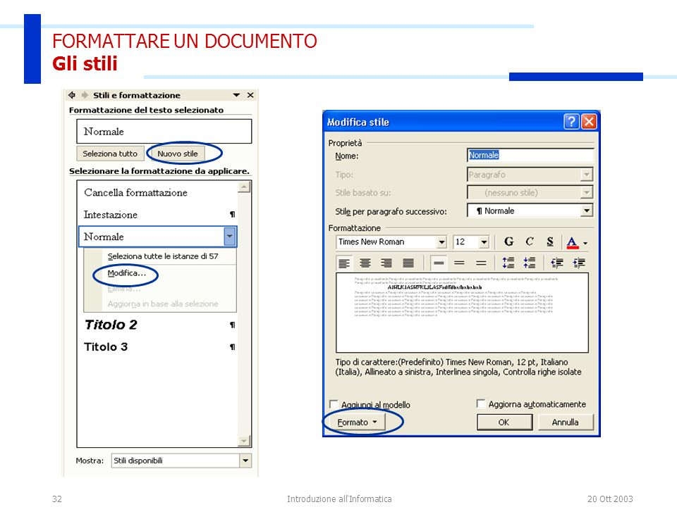 FORMATTARE UN DOCUMENTO Gli stili
