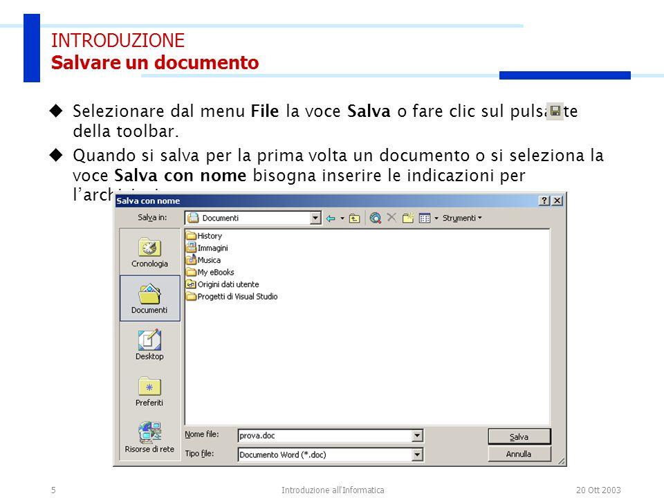 INTRODUZIONE Salvare un documento
