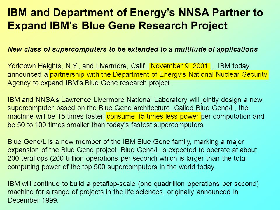 IBM and Department of Energy's NNSA Partner to Expand IBM s Blue Gene Research Project