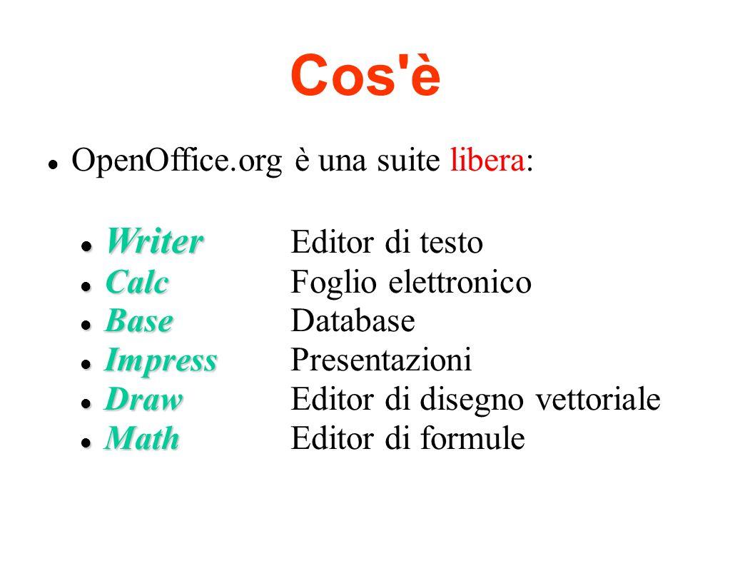 Cos è Writer Editor di testo OpenOffice.org è una suite libera: