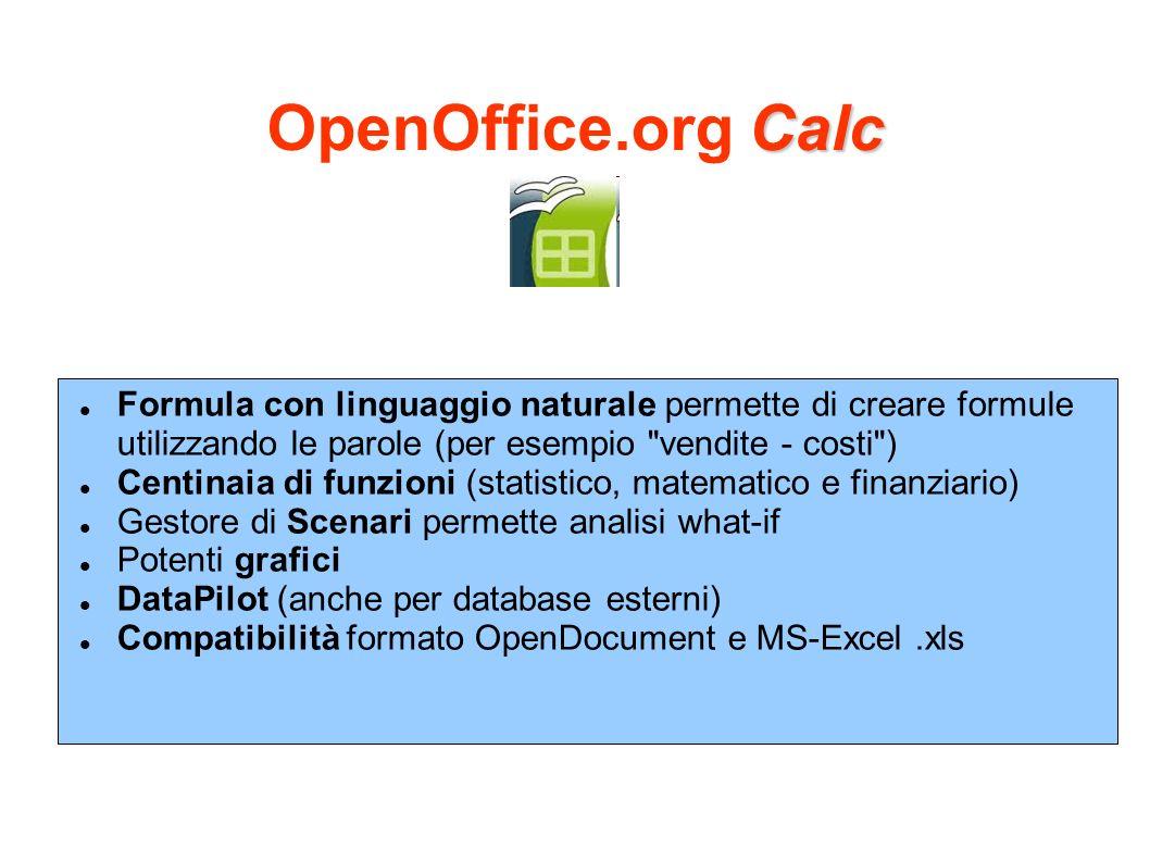 OpenOffice.org Calc Formula con linguaggio naturale permette di creare formule utilizzando le parole (per esempio vendite - costi )