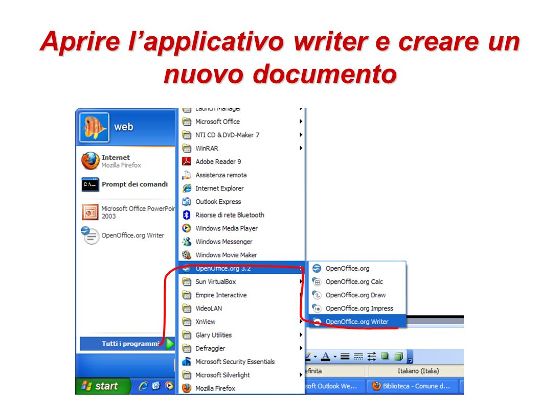 Aprire l'applicativo writer e creare un nuovo documento
