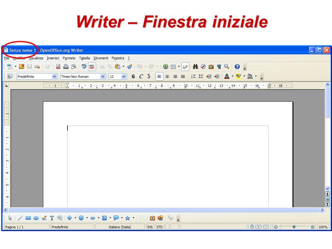 Writer – Finestra iniziale