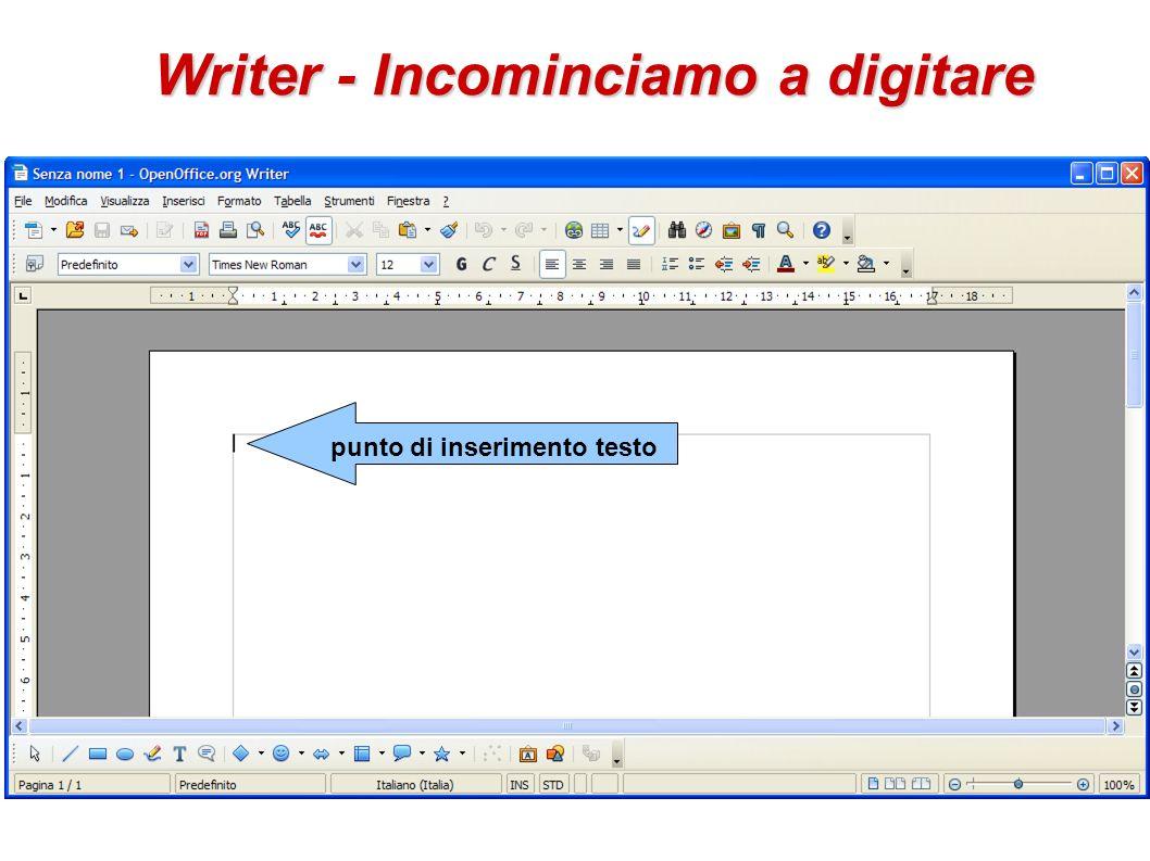 Writer - Incominciamo a digitare punto di inserimento testo