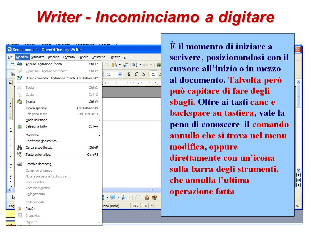 Writer - Incominciamo a digitare