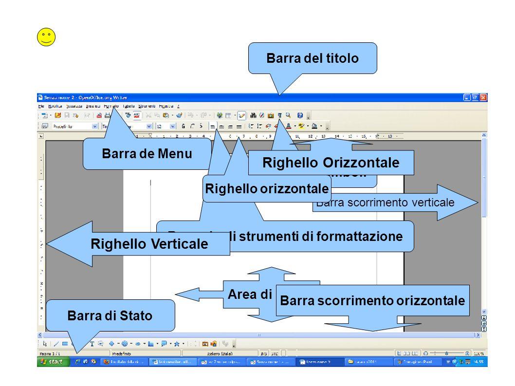 Barra degli strumenti di formattazione Barra scorrimento orizzontale