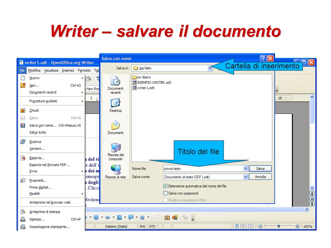 Writer – salvare il documento