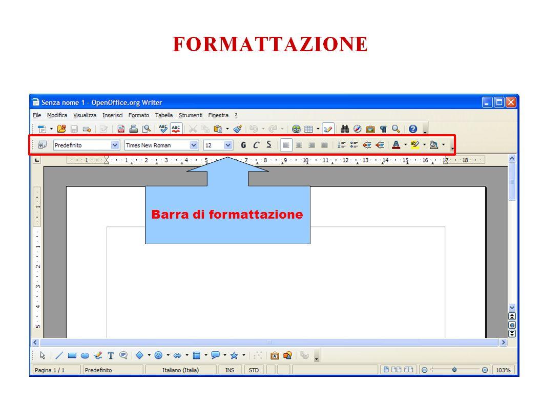 Barra di formattazione