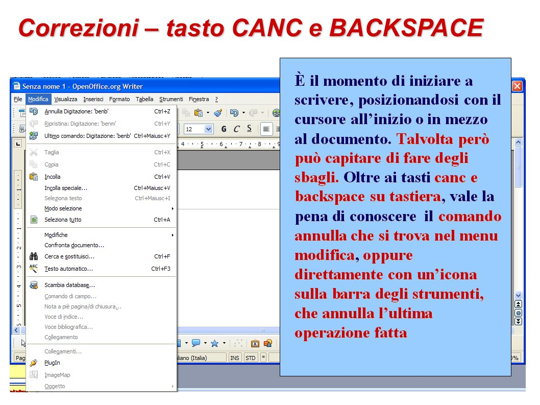 Correzioni – tasto CANC e BACKSPACE