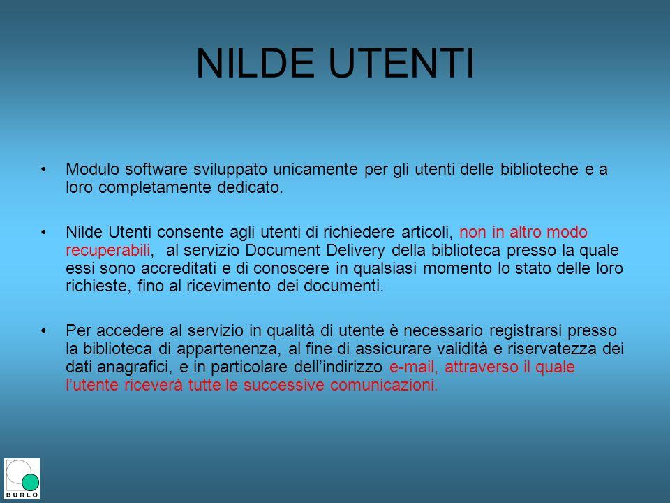 NILDE UTENTI Modulo software sviluppato unicamente per gli utenti delle biblioteche e a loro completamente dedicato.