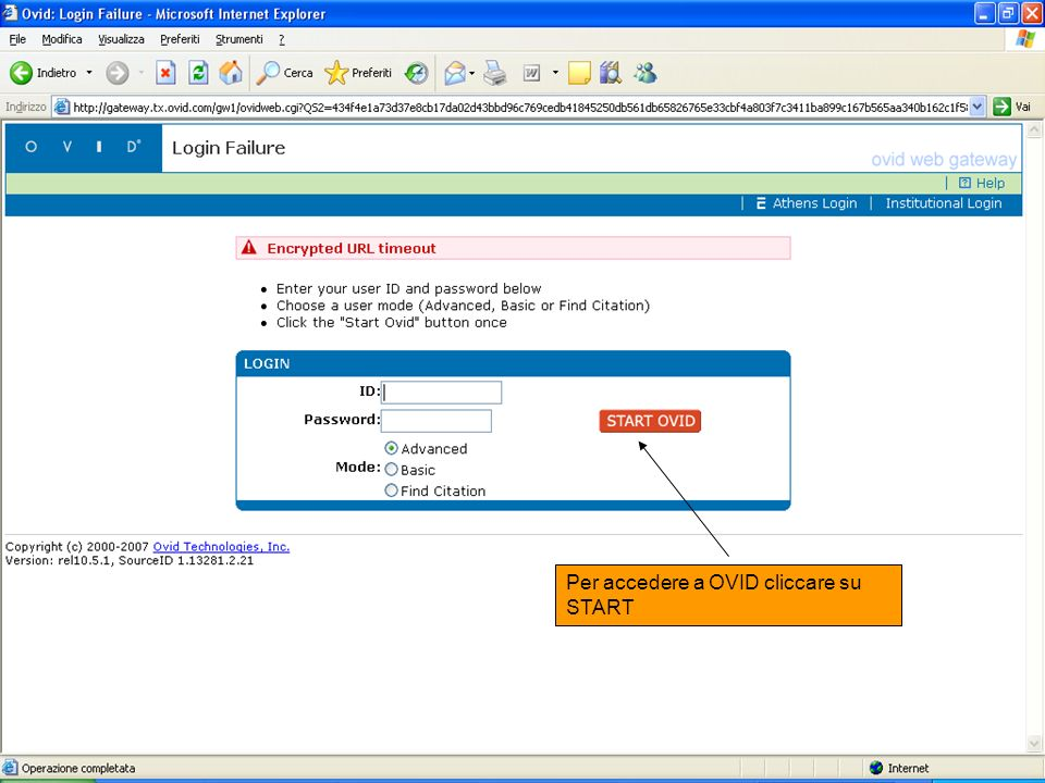 Per accedere a OVID cliccare su START