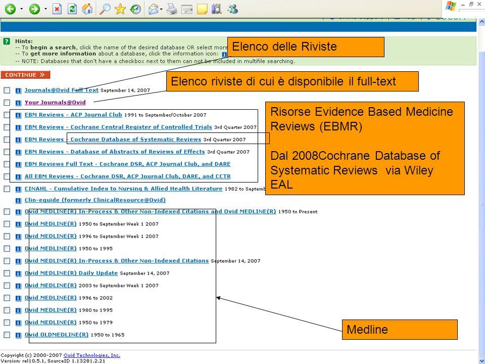 Elenco delle Riviste Elenco riviste di cui è disponibile il full-text. Risorse Evidence Based Medicine Reviews (EBMR)