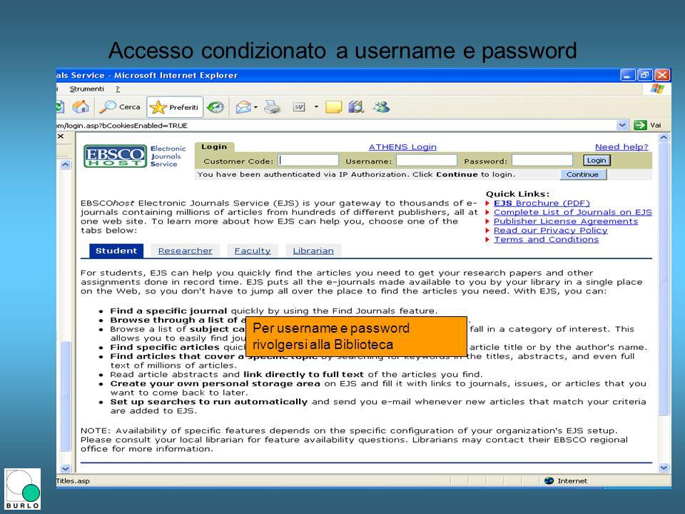 Accesso condizionato a username e password