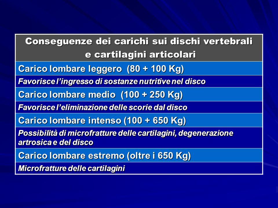 Conseguenze dei carichi sui dischi vertebrali e cartilagini articolari