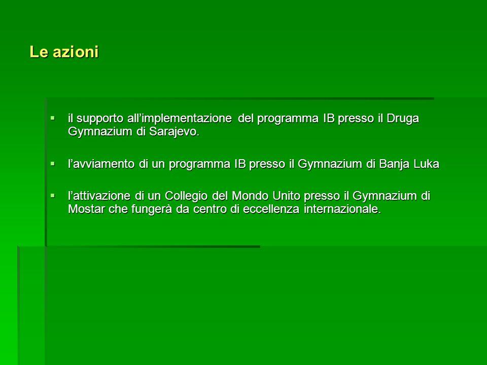 Le azioni il supporto all'implementazione del programma IB presso il Druga Gymnazium di Sarajevo.