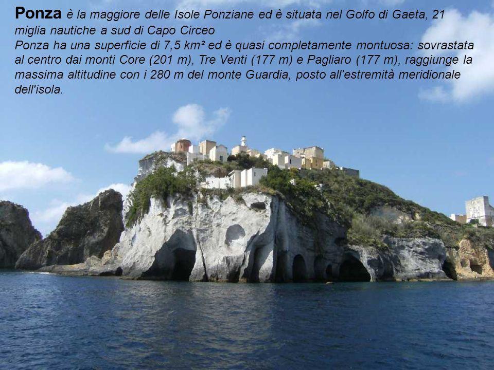 Ponza è la maggiore delle Isole Ponziane (il cui arcipelago comprende anche le isole di Gavi, Zannone, Palmarola, Ventotene e Santo Stefano) ed è situata nel Golfo di Gaeta (nel Mar Tirreno), 21 miglia nautiche a sud di Capo Circeo.