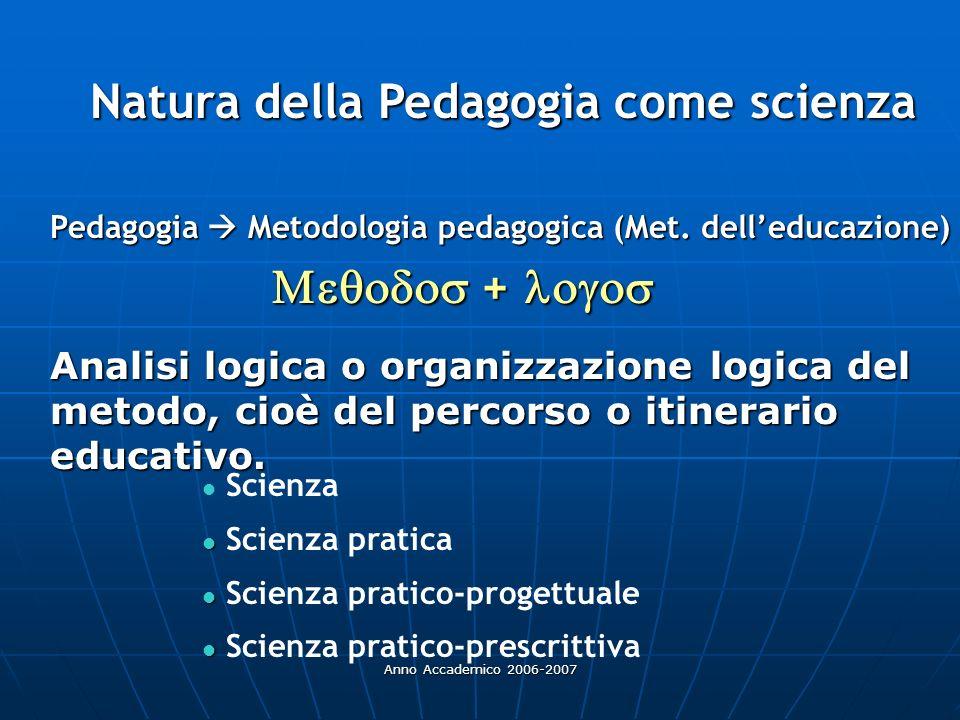 Natura della Pedagogia come scienza