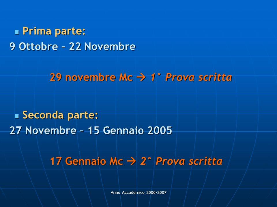29 novembre Mc  1° Prova scritta