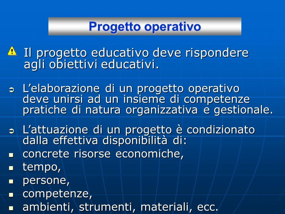Progetto operativo Il progetto educativo deve rispondere agli obiettivi educativi.