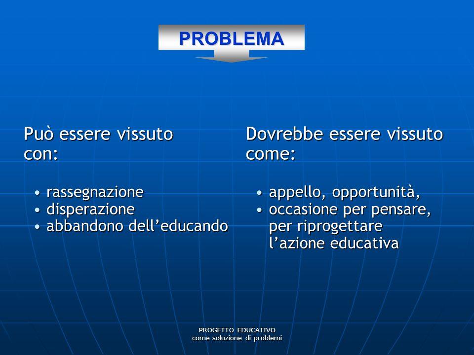 PROGETTO EDUCATIVO come soluzione di problemi