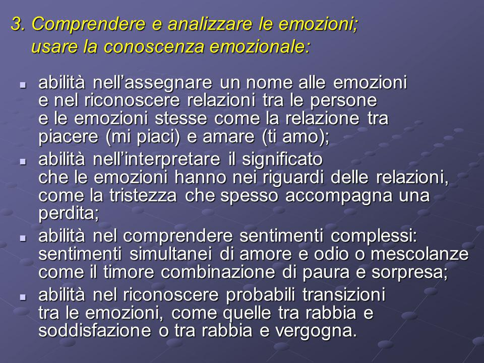 3. Comprendere e analizzare le emozioni;