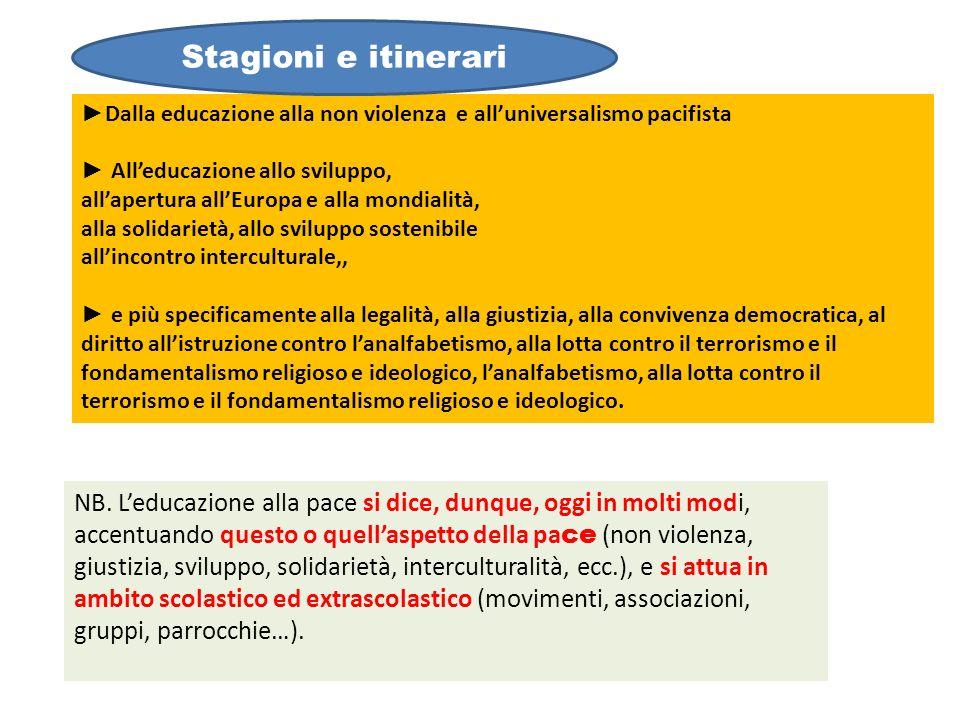 Stagioni e itinerari ►Dalla educazione alla non violenza e all'universalismo pacifista. ► All'educazione allo sviluppo,
