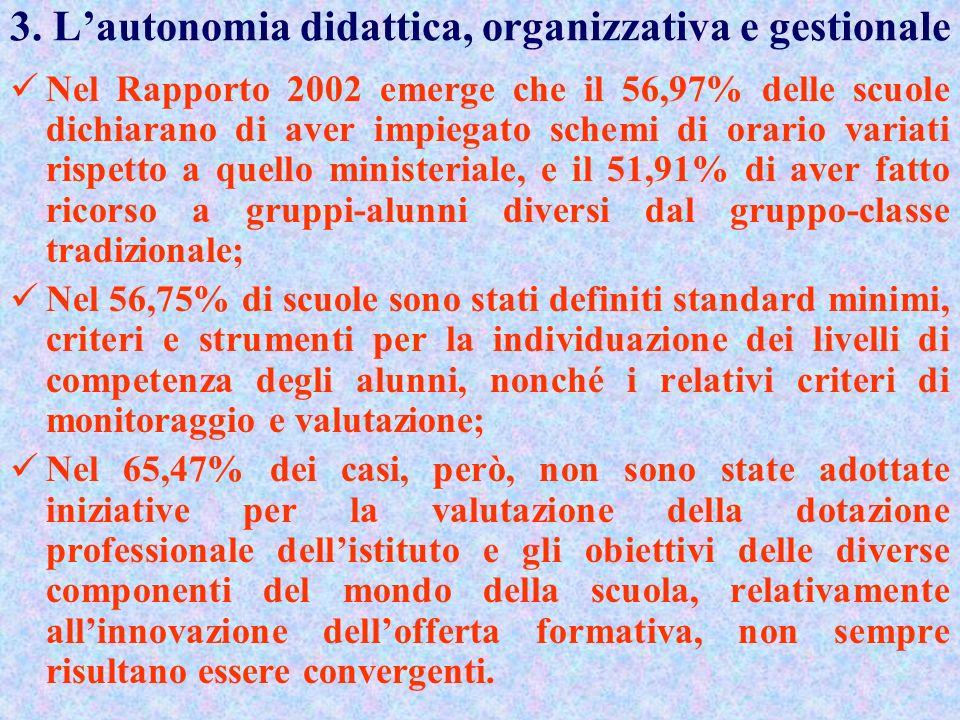 3. L'autonomia didattica, organizzativa e gestionale