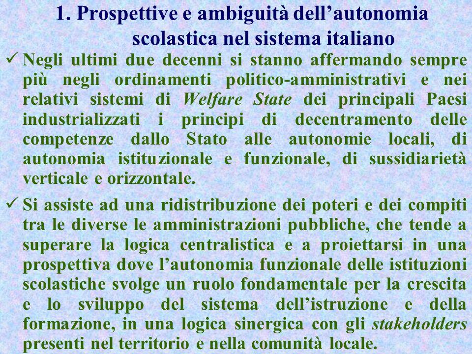 1. Prospettive e ambiguità dell'autonomia scolastica nel sistema italiano