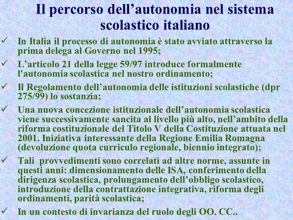 Il percorso dell'autonomia nel sistema scolastico italiano
