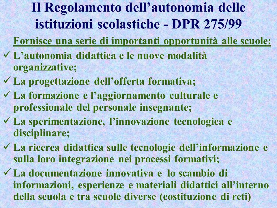 Il Regolamento dell'autonomia delle istituzioni scolastiche - DPR 275/99