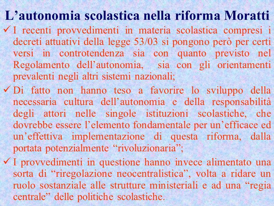 L'autonomia scolastica nella riforma Moratti